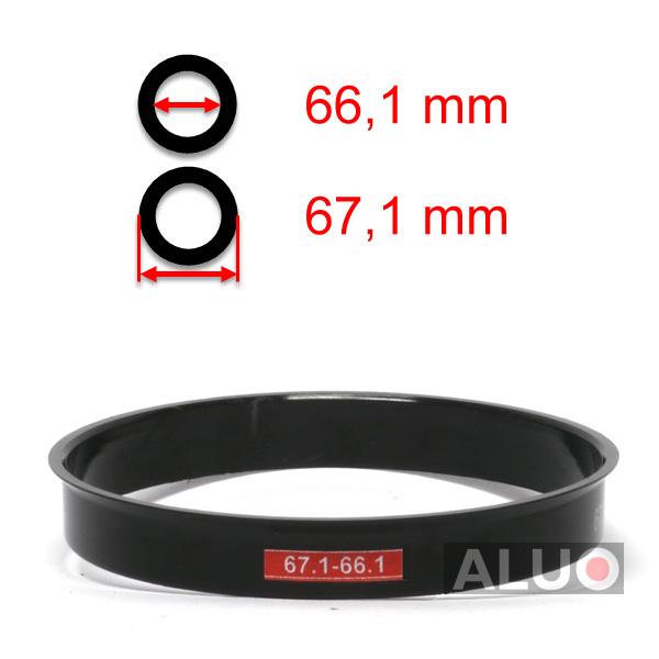 4x Universal-Anello di Centraggio 67.1-66.1 mm per cerchi in lega